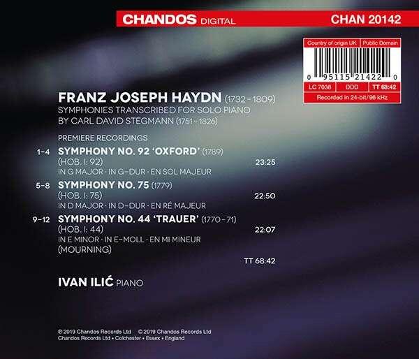 Haydn: Symphonies Nos.44, 75 & 92 Transcribed By Carl David Stegmann - Ivan Ilic
