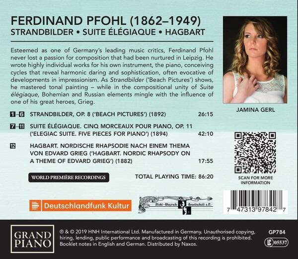 Ferdinand Pfohl: Strandbilder, Suite Elegiaque, Hagbart - Jamina Gerl