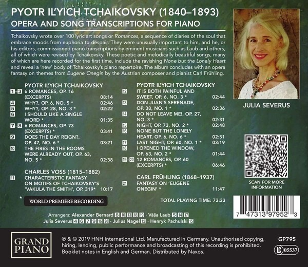Tchaikovsky: Opera And Song Transcriptions For Piano - Julia Severus