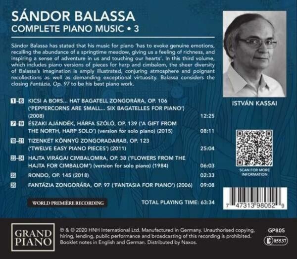 Sandor Balassa: Complete Piano Music Vol.3 - Istvan Kassai