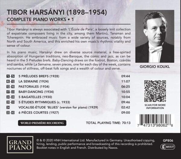Tibor Harsanyi: Complete Piano Works Vol. 1 - Giorgio Koukl