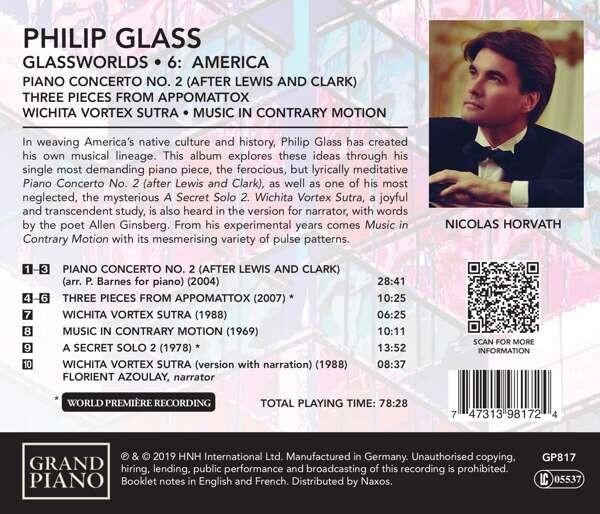 Philip Glass: Glassworlds 6, America - Nicolas Horvath