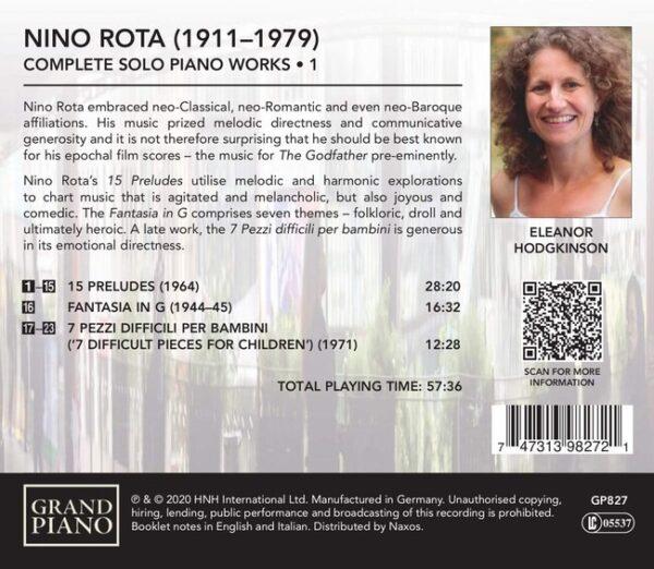 Nino Rota: Complete Solo Piano Works Vol.1 - Eleanor Hodgkinson
