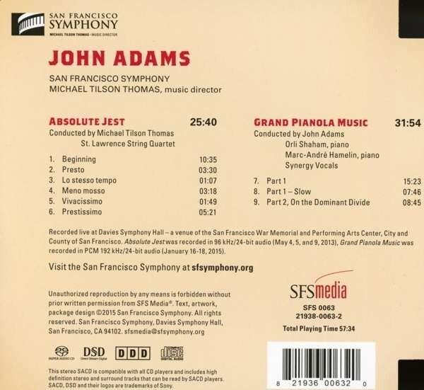 John Adams: Absolute Jest, Grand Pianola Music - St. Lawrence String Quartet