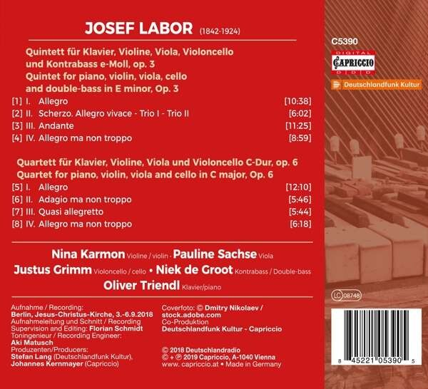 Josef Labor: Piano Quartet, Piano Quintet - Oliver Triendl