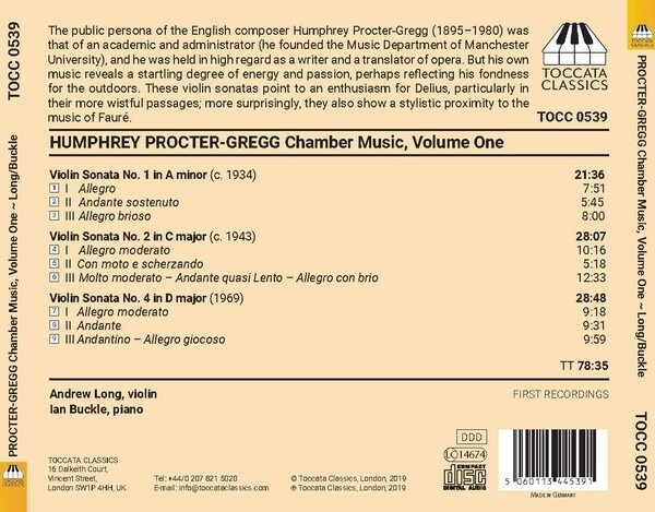 Humphrey Procter-Gregg: Chamber Music, Vol.1 - Andrew Leng
