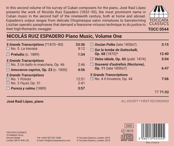 Nicolas Ruiz Espadero: Piano Music, Vol. 1 - Jose Raul Lopez