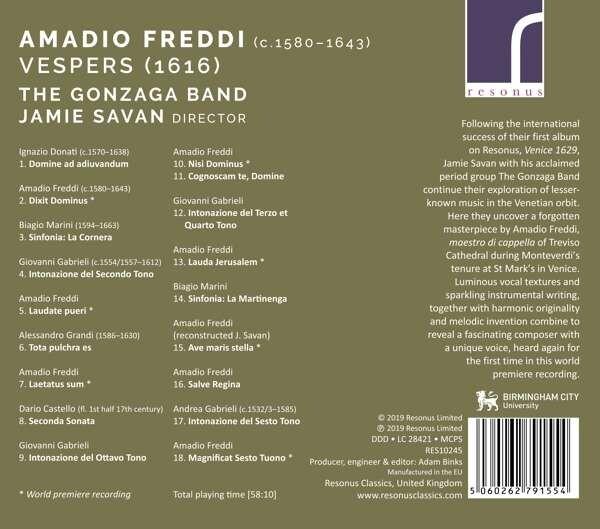 Amadio Freddi: Vespers (1616) - The Gonzaga Band