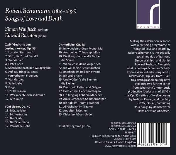 Schumann: Songs Of Love And Death - Simon Wallfisch