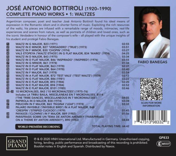 Jose Antonio Bottiroli: Complete Piano Music (Vol.1): Waltzes - Fabio Banegas