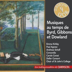 Musiques au temps de Byrd, Gibbons et Dowland. Kirkby, Agnew, Scholl, Cerasi, Guest.