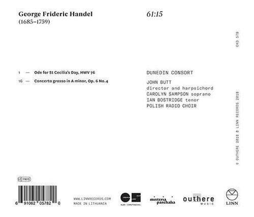 Handel: Ode For St Cecilia's Day - Dunedin Consort
