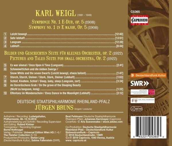 Karl Weigl: Symphony No 1, Pictures And Tales - Jürgen Bruns