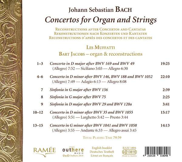 Bach: Concertos For Organ And Strings - Les Muffatti