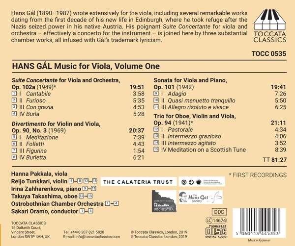 Hans Gal: Music For Viola, Vol.1 - Sakari Oramo