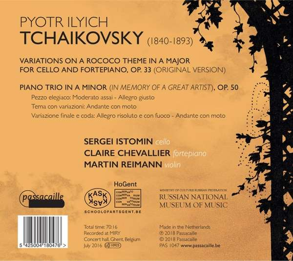 Tchaikovsky: Piano Trio Op.50 - Claire Chevallier