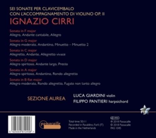 Ignazio Cirri: Six Sonatas Op.2 - Filippo Pantieri