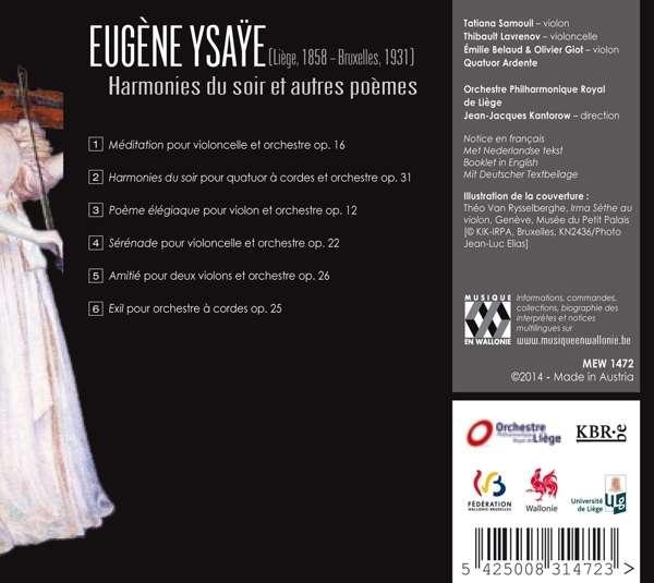 Eugene Ysaye: Harmonies Du Soir Et Autres Poemes - Tatiana Samouil