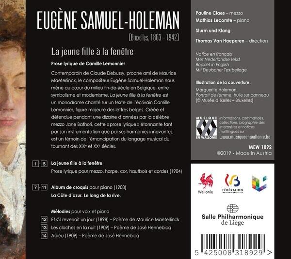Eugene Samuel-Holeman: La Jeune Fille A La Fenetre - Pauline Claes