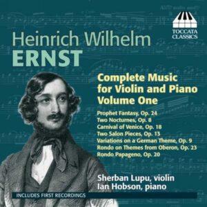 Ernst : L'œuvre pour violon et piano, Vol. 1. Lupu, Hobson.