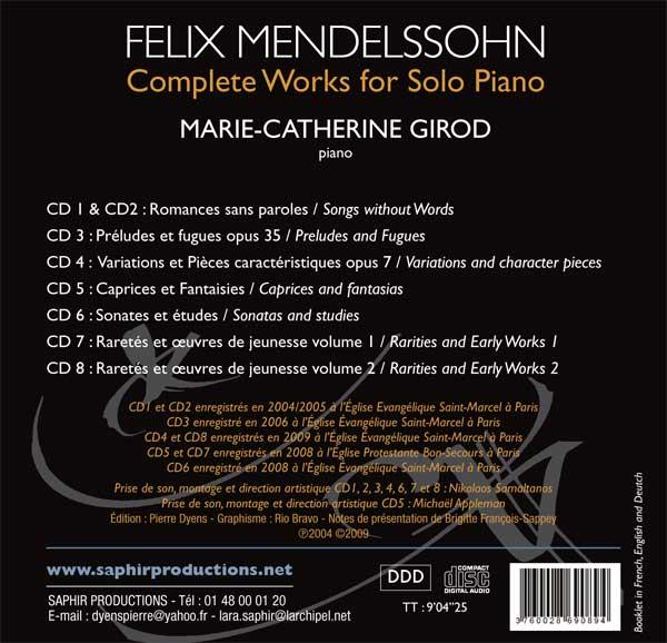 Mendelssohn : L'œuvre pour piano. Girod.