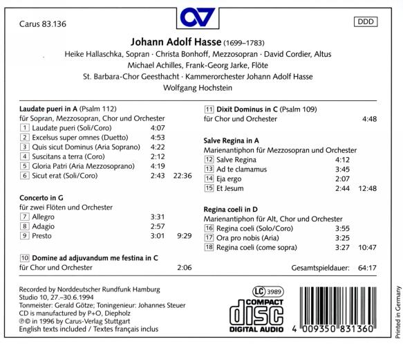 Hasse : Laudate pueri - Psalms - Antiphons - Concerto pour 2 flûtes