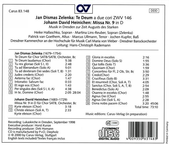 Heinichen : Messe n° 9 / Zelenka : Te Deum