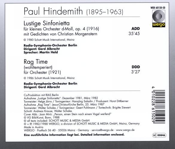 Hindemith : Lustige Sinfonietta - Rag Time