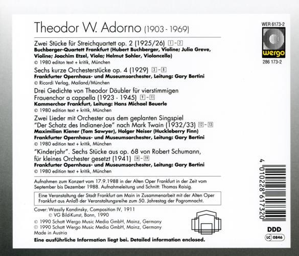 Adorno : Œuvres diverses