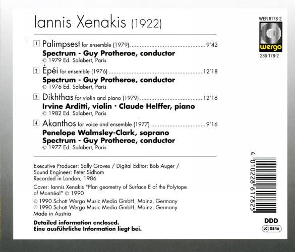 Xenakis : Palimpsest - Epéi - Dikhthas - Akanthos