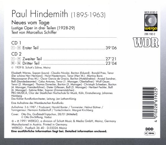 Hindemith : Neues vom Tage (opéra)