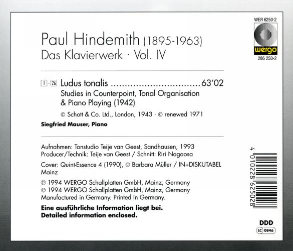 Hindemith : Œuvres pour piano IV