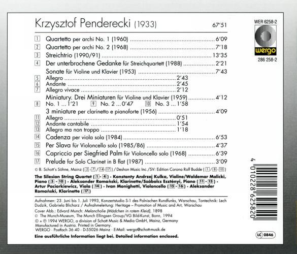 Penderecki : Musique de chambre