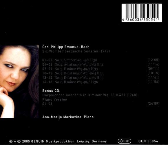 Bach C.P.E. : Six Sonates wurtembergeoises