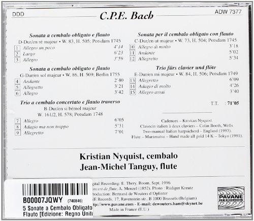Bach, C.P.E. : 5 sonate a cembalo obligato e flauto. Tanguy/Nyquist.