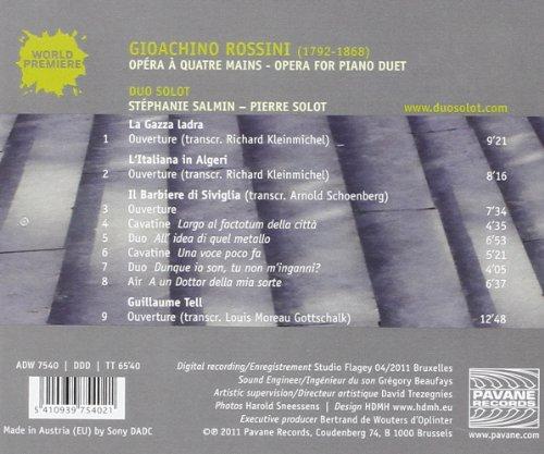 Rossini : Opéra à quatre mains (transcr. pour piano). Duo Solot.