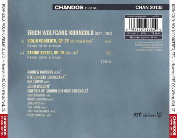 Korngold: Violin Concert, String Sextet - John WIlson
