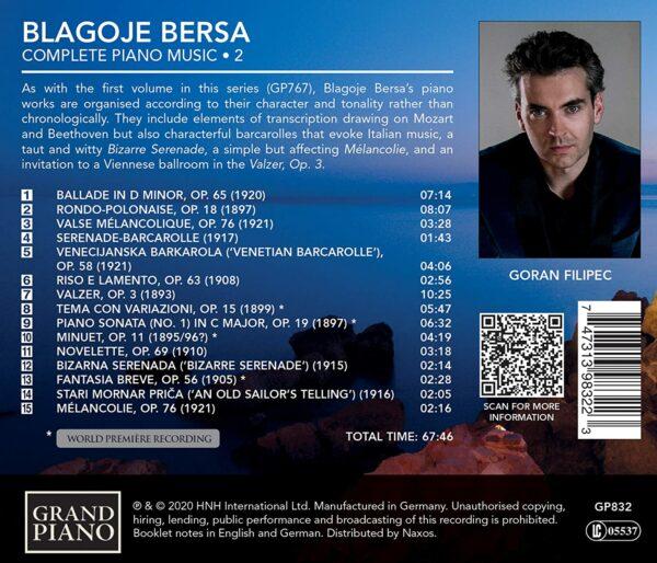 Blagoje Bersa: Complete Piano Music Vol.2 - Goran Filipec