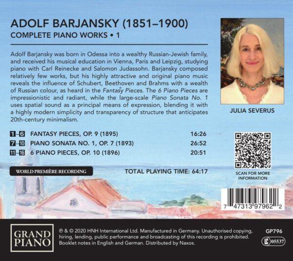 Adolf Barjansky: Complete Piano Works Vol.1 - Julia Severus