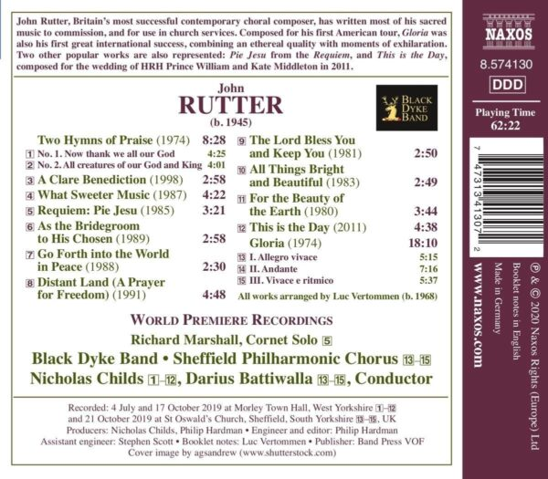 John Rutter: Anthems, Hymns And Gloria For Brass Band (Arr. Luc Vertommen) - Black Dyke Band