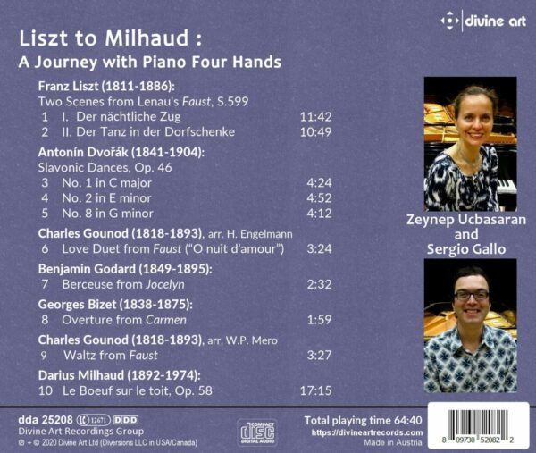 Liszt To Milhaud: A Journey with Piano Four Hands - Sergio Gallo & Zeynep Ucbasaran