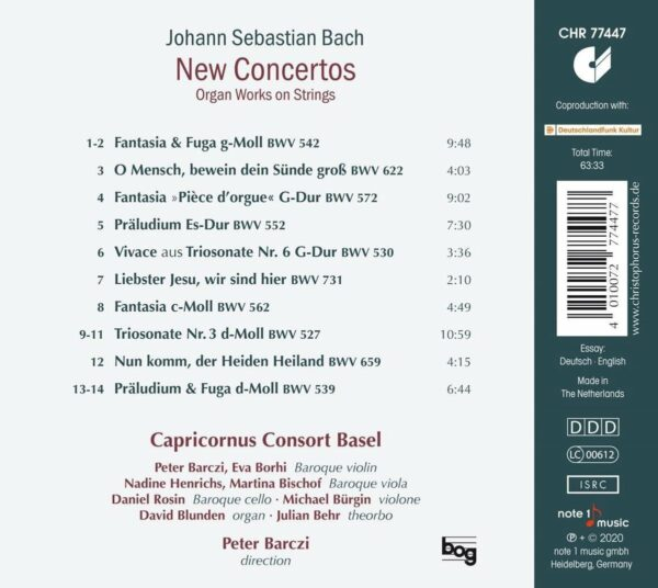 Bach: New Concertos - Capricornus Consort Basel