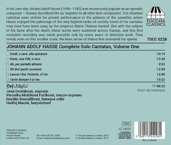 Hasse: Solo Cantatas, Volume One - Hof-Musici
