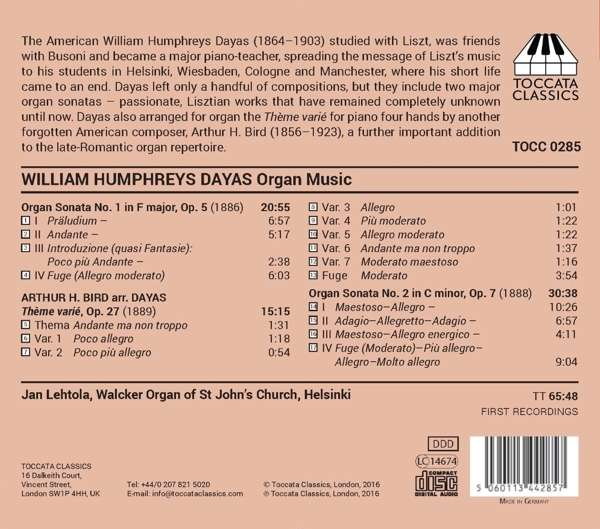Dayas: Organ Music - Jan Lehtola