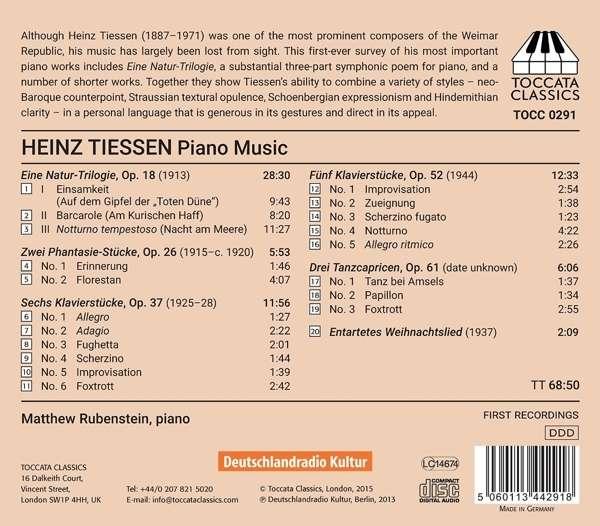 Tiessen: Piano Music - Matt Rubenstein