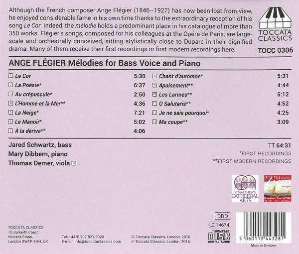 Ange Flégier: Songs for Bass Voice and Piano - Jared Schwartz