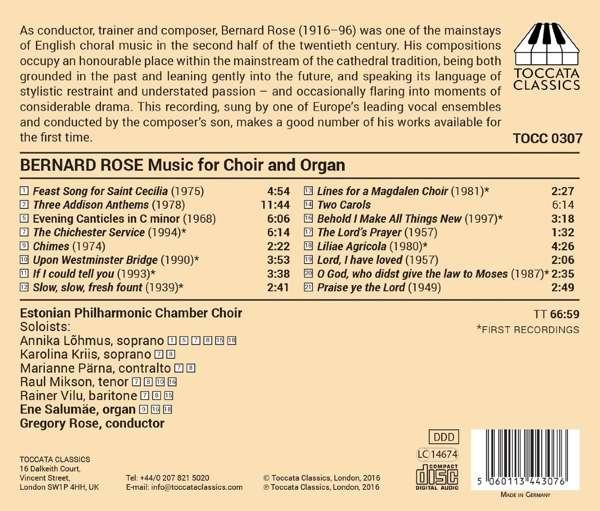 Bernard Rose: Choral Music - Estonian Philharmonic Chamber Choir