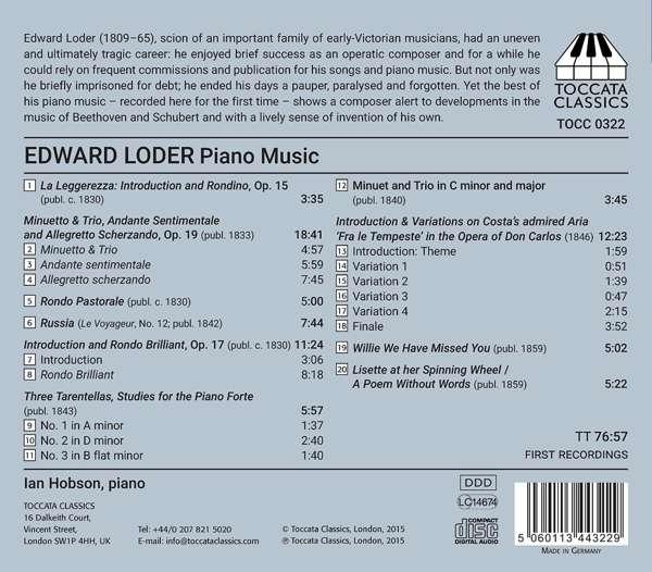 Edward Loder: Piano Music - Ian Hobson