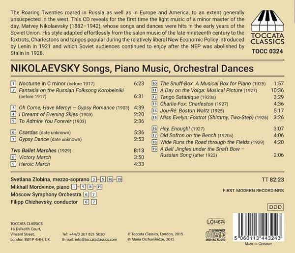 Nikolaevsky: Two Orchestral Dances, Songs, Piano Music - Svetlana Zlobina