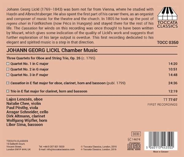 Lickl: Chamber Music For Winds - Lajos Lencses